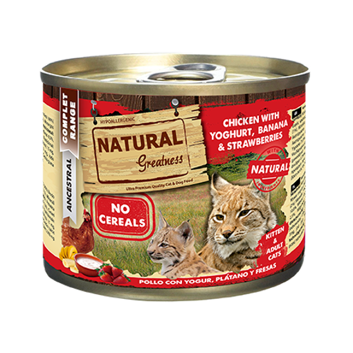 Imagem de NATURAL GREATNESS | Wetfood Cat - Chicken & Yogurt with Banana & Strawberry 200 g