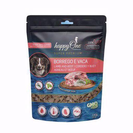 happyOne Mediterraneum Snack Semi-húmido Borrego e Vaca 190 g