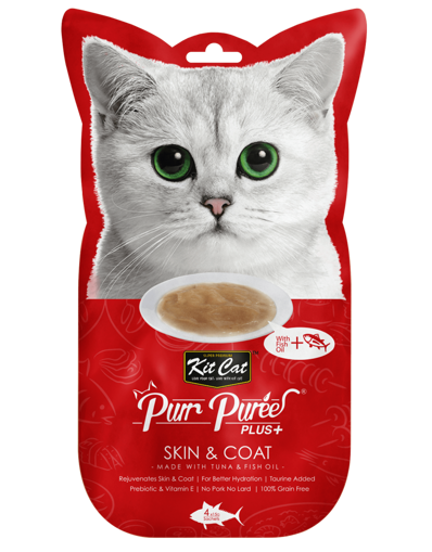 Imagem de KitCat | PurrPuree Plus+ Skin & Coat ( Tuna & Fish Oil ) 4x15g
